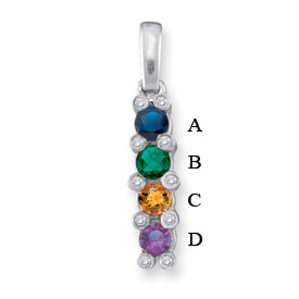 14k Channel Set Birthstone Necklace with Four Genuine Birthstones