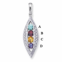 14k Channel Set Mother's Day Pendant with Four Genuine Birthstones