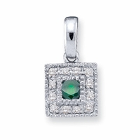 14k Channel Set Mother's Pendant Necklace with One Genuine Birthstone