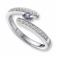 14k Custom Mother's Ring with One Genuine Birthstone and Diamonds