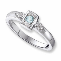 14k Designer Mother's Ring with One Genuine Birthstone and Diamonds
