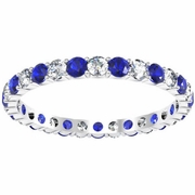 Diamond and Blue Sapphire Eternity Ring 1.00cttw