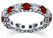 4 Carat Diamond Ruby Eternity Ring Shared Prong Setting