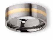 14k Gold Inlay Titanium Ring Flat Matte Finish 8mm