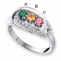 14k Gold Mother's Ring with Engraving and Three Birthstones