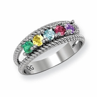 14k Gold Mother's Ring with Five Birthstones