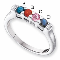 14k Gold Mother's Ring with Four Birthstones