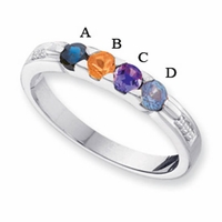 14k Gold Mother's Ring with Four Genuine Birthstones