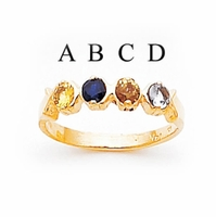 14k Gold Mother's Ring with Four Personalized Birthstones