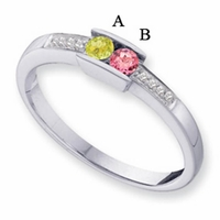 14k Gold Mother's Ring with Personalized Birthstones and Diamonds