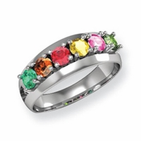 14k Gold Mother's Ring with Six Birthstones