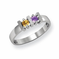 14k Gold Mother's Ring with Two Birthstones