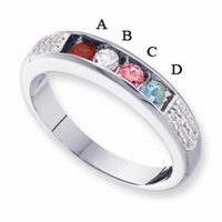 14k Gold Ring for Mother with Four Birthstones