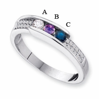 14k Gold Unique Mother's Ring with Three Birthstones