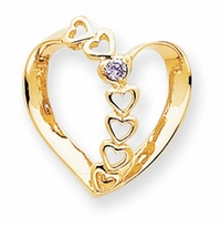 14k Mother Pendant Heart with One Birthstone