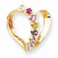 14k Mother Pendant Heart with Six Birthstones