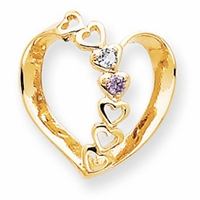 14k Mother Pendant Heart with Two Birthstones