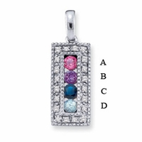 14k Mother's Birthstone Pendant with Four Genuine Birthstones