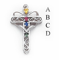 14k Mother's Cross Pendant with Four Birthstones