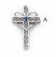 14k Mother's Cross Pendant with One Birthstone