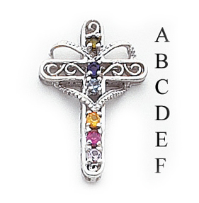 14k Mother's Cross Pendant with Six Birthstones