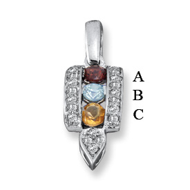 14k Mother's Day Pendant with Three Personalized Birthstones
