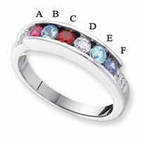 14k Mother's Day Ring with 6 Genuine Birthstones and Diamond Accents