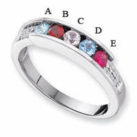 14k Mother's Day Ring with Five Genuine Birthstones and Diamonds