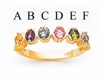 14k Mother's Day Ring with Six Birthstones