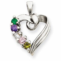 14k Mother's Heart Necklace with Five Birthstones