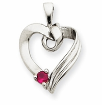 14k Mother's Heart Necklace with One Birthstone