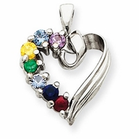14k Mother's Heart Necklace with Seven Birthstones