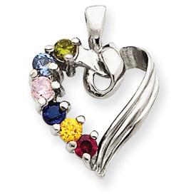 14k Mother's Heart Necklace with Six Birthstones