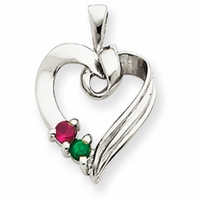 14k Mother's Heart Necklace with Two Birthstones