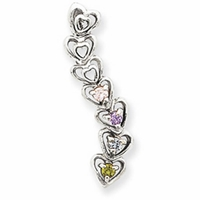 14k Mother's Heart Pendant with Four Birthstones