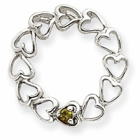 14k Mother's Heart Pendant with One Genuine Birthstone