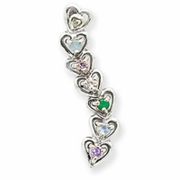 14k Mother's Heart Pendant with Six Birthstones