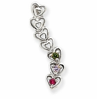 14k Mother's Heart Pendant with Three Birthstones