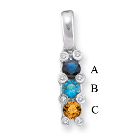 14k Mother's Necklace with Birthstones and Diamonds