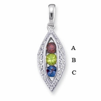 14k Mother's Necklace with Three Genuine Birthstones and Diamonds