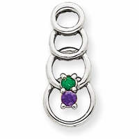 14k Mother's Necklace with Two Genuine Birthstones in Pendant