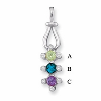 14k Mother's Pendant Customized with Three Birthstones