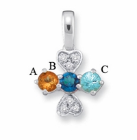 14k Mother's Pendant Necklace with 3 Genuine Birthstones and Diamonds