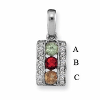 14k Mother's Pendant Necklace with Three Birthstones