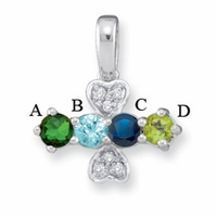 14k Mother's Pendant with Four Genuine Birthstones and Diamonds