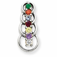 14k Mother's Pendant with Seven Genuine Birthstones and Matching Chain
