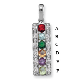 14k Mother's Pendant with Six Genuine Birthstones