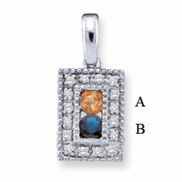 14k Mother's Pendant with Two Genuine Birthstones