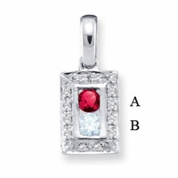14k Mother's Pendant with Two Genuine Birthstones with Channel Setting