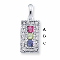14k Mother's Personalized Necklace with Three Genuine Birthstones
